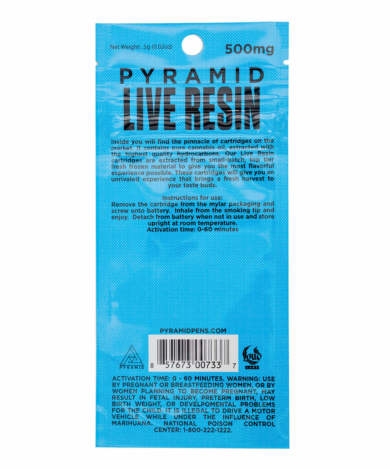 Pyramid Live Resin cannabis cartridge 500 mg